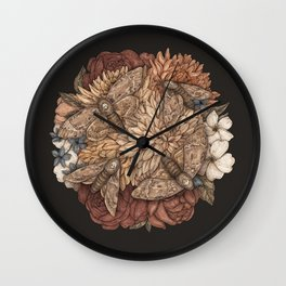 Flowers and Moths Wall Clock