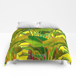 GOLDEN TROPICAL FOLIAGE GREEN & GOLD LEAVES AR Comforters