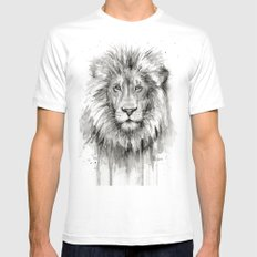Lion Watercolor Animal X-LARGE White Mens Fitted Tee