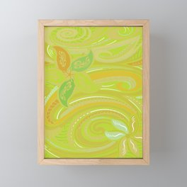 Polynesian Tribal Jungle Green Threads Framed Mini Art Print