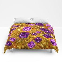 RICH OPULENT PURPLE  AMETHYST GEMS ON GOLD Comforters