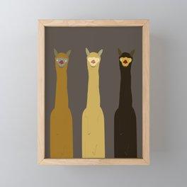 Triple LLAMAS ALPACAS CAMELS - Dark Framed Mini Art Print
