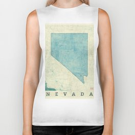 Nevada State Map Blue Vintage Biker Tank