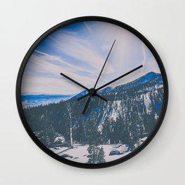 snowy mountain in Tahoe Wall Clock