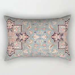 Persian carpet with heriz pattern pink, peach and blue Rectangular Pillow