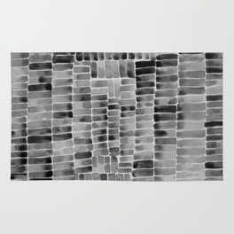 Watercolor abstract rectangles - black and white Rug