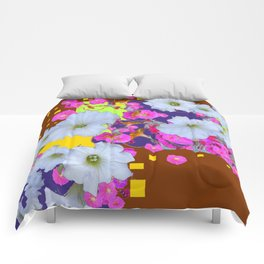 White Garden Petunia & Morning Glories Flowers Brown Art Comforters
