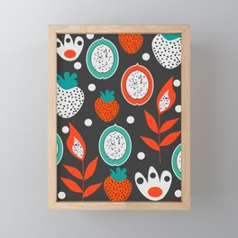 Strawberries and citrus fruits at night Framed Mini Art Print