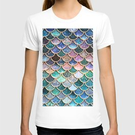 Multicolor Pink And Aqua Mermaid Scales - Beautiful Abstract Glitter Pattern T-shirt