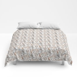Classic Brown Batik Walang Pattern on White Background Comforters