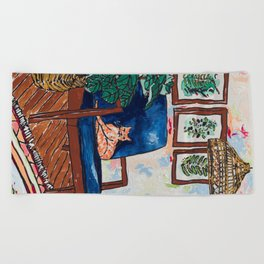 Ginger Cat on Blue Mid Century Chair Painting Beach Towel