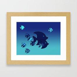 Nine Blue Fish with Patterns Framed Art Print