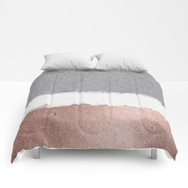 Concrete and rose gold Comforters