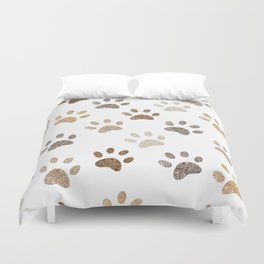 Shining brown colored paw print background Duvet Cover