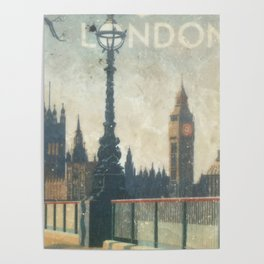 London skyline view of Westminster Abbey and Big Ben, painting from Victorian era Poster