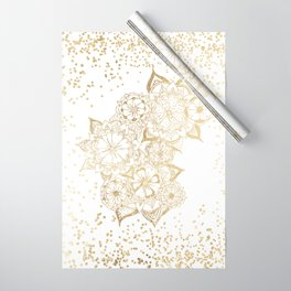 Hand drawn white and gold mandala confetti motif Wrapping Paper