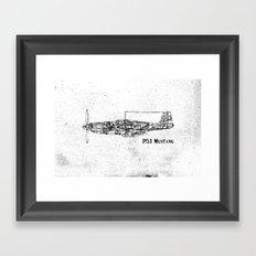 North American P51 Mustang (black) Framed Art Print