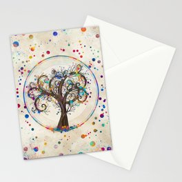 Golden Spiral Tree Color Paint Splatter #2 Stationery Cards