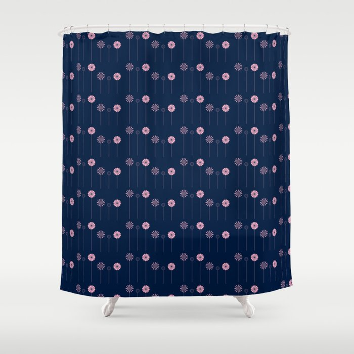 Pink Flowers at Night Pattern Shower Curtain