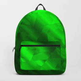 Glowing metallic green fragments of yellow crystals on irregularly shaped triangles. Backpack