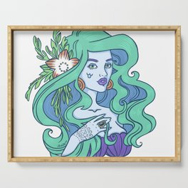 Mint-Haired Mermaid Serving Tray