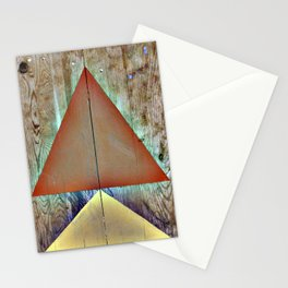 Warm Triangles on Found Wood Paneling Stationery Cards