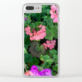 Pink and purple garden Clear iPhone Case