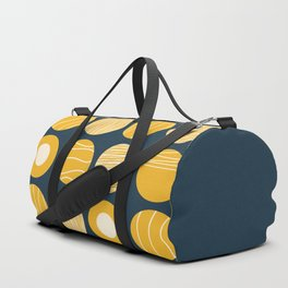 Kugeln - Minimalist Decorated Dot Pattern in Mustard Yellow and Navy Blue Duffle Bag