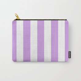 Bright ube violet - solid color - white vertical lines pattern Carry-All Pouch