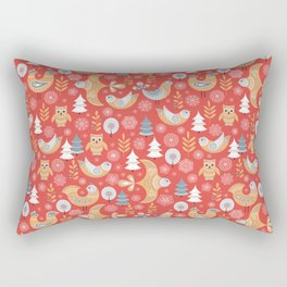 Fairy forest, deer, owls, foxes. Decorative pattern in Scandinavian style on a red background. Folk Rectangular Pillow