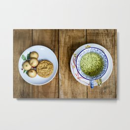 A cup of green tea and a plate with cookies, top view, over wooden table. Metal Print