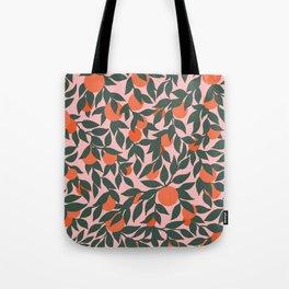 Oranges and Leaves Pattern - Pink Tote Bag