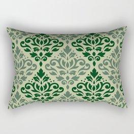 Scroll Damask Pattern Greens Rectangular Pillow