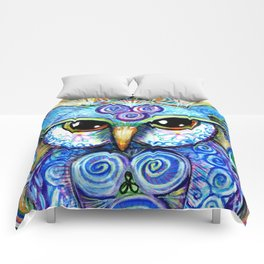 Spirit Owl, original illustration from Spirit Owl Series by Artist Sheridon Rayment Comforters