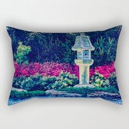 Oriental Garden with Birdhouse Statue Rectangular Pillow