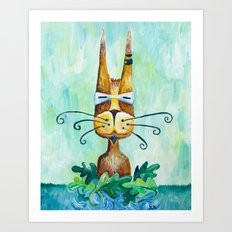 Roofus Whiskers The Cat Art Print