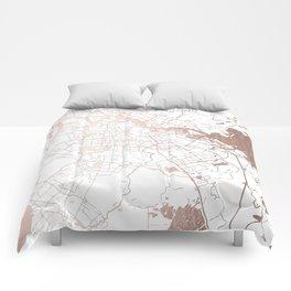 Amsterdam White on Rosegold Street Map Comforters