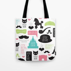 Vintage style Paris typography and illustration pattern Tote Bag