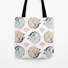 Sleepy Kitty Pattern Tote Bag