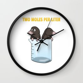 Two Moles Per Liter Chemistry Science Wall Clock