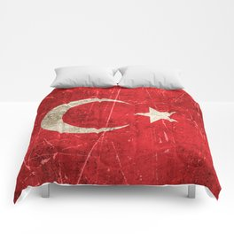 Vintage Aged and Scratched Turkish Flag Comforters