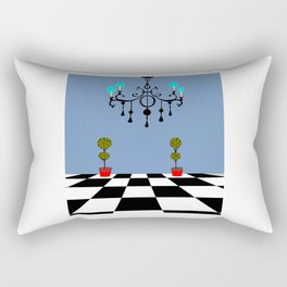A Chandler with Checkered Tile and Topiaries Rectangular Pillow