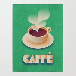 Art Deco Vintage Retro Coffee - Green Poster
