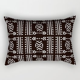 Mudcloth No.4 in Black + White Rectangular Pillow