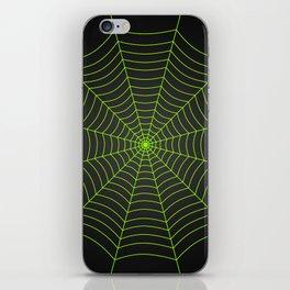 Neon green spider web iPhone Skin