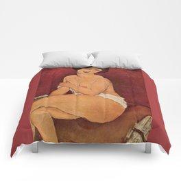 Amedeo Modigliani - Nude Sitting on a Divan Comforters