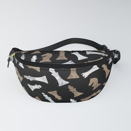 Chess Figures Pattern - Gold and pearl Fanny Pack