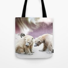 Polar Bears and Penguin Tote Bag
