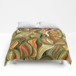 Boho Green & Red Wave Pattern Comforters