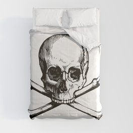 Skull and Crossbones | Jolly Roger | Pirate Flag | Black and White | Comforters